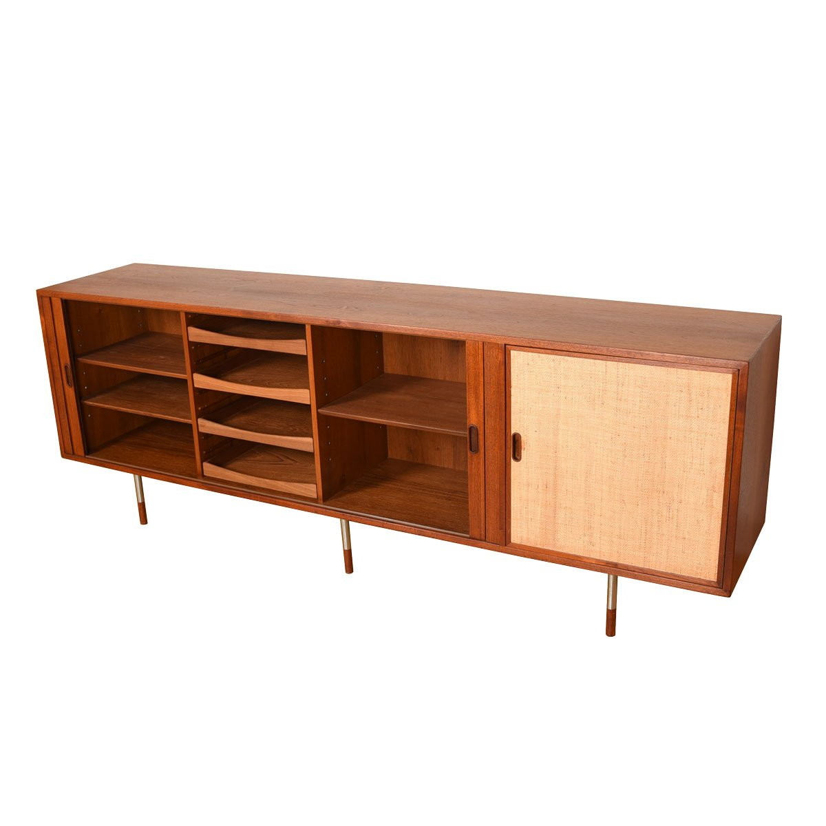 Arne Vodder Tambour Credenza w/ Rare Configuration of Caned Door + Steel Legs.