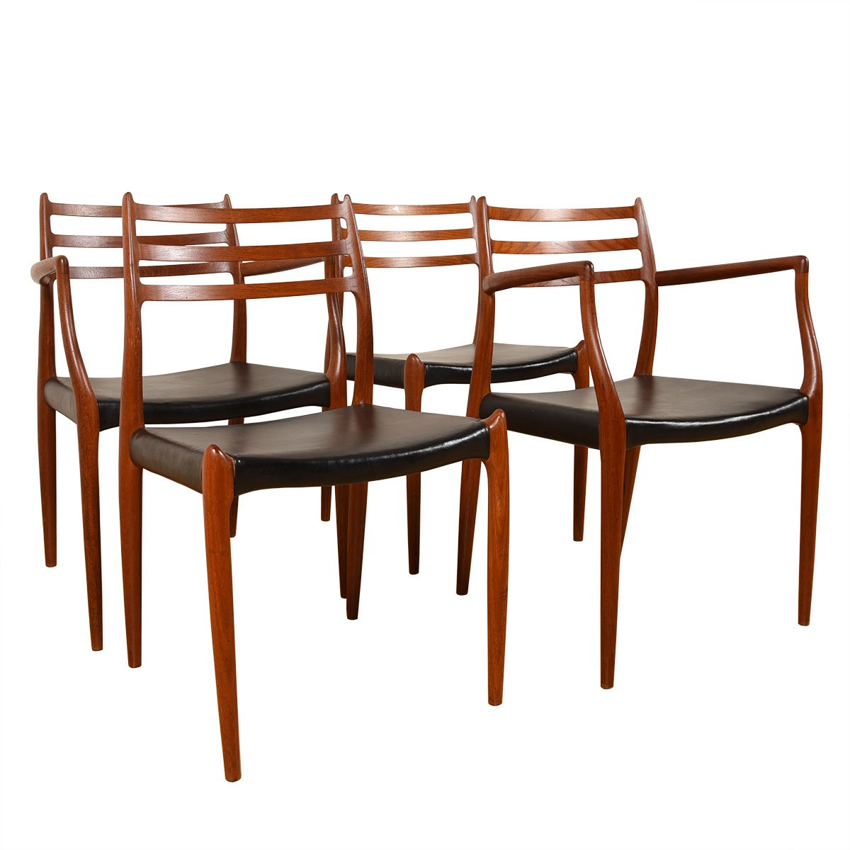Set of 4 Niels Møller Teak Dining Chairs (2 Arm + 2 Side)