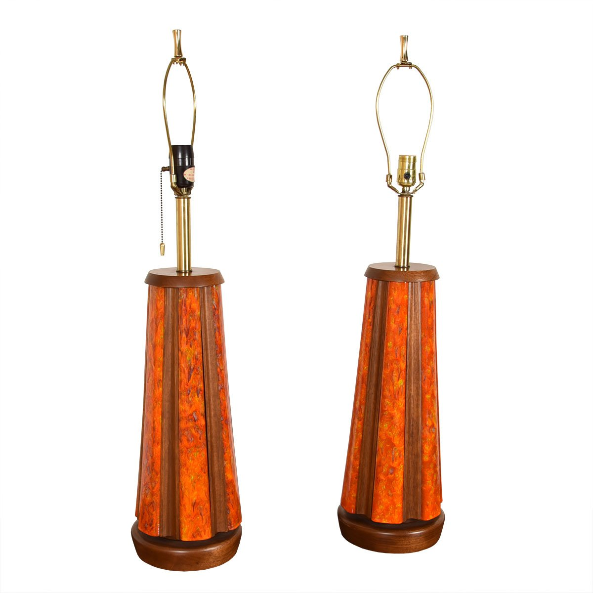Pair of Stunning Designer Table Lamps in Enamel.