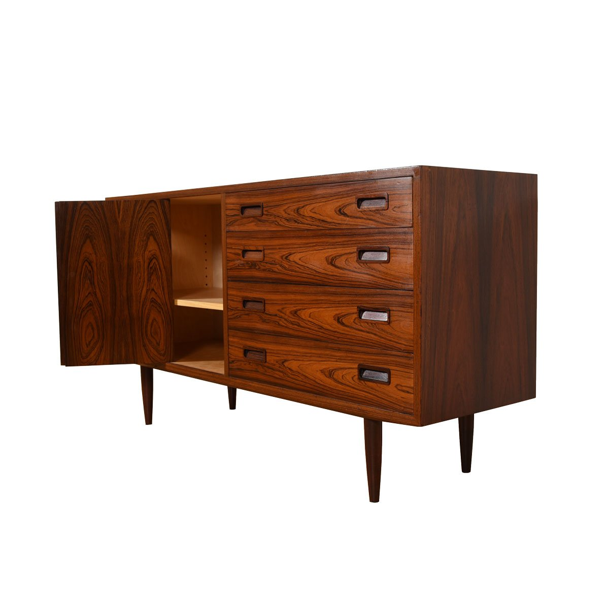 Danish Rosewood 4 Drawer Media Cabinet w/ Bi-Fold Door.