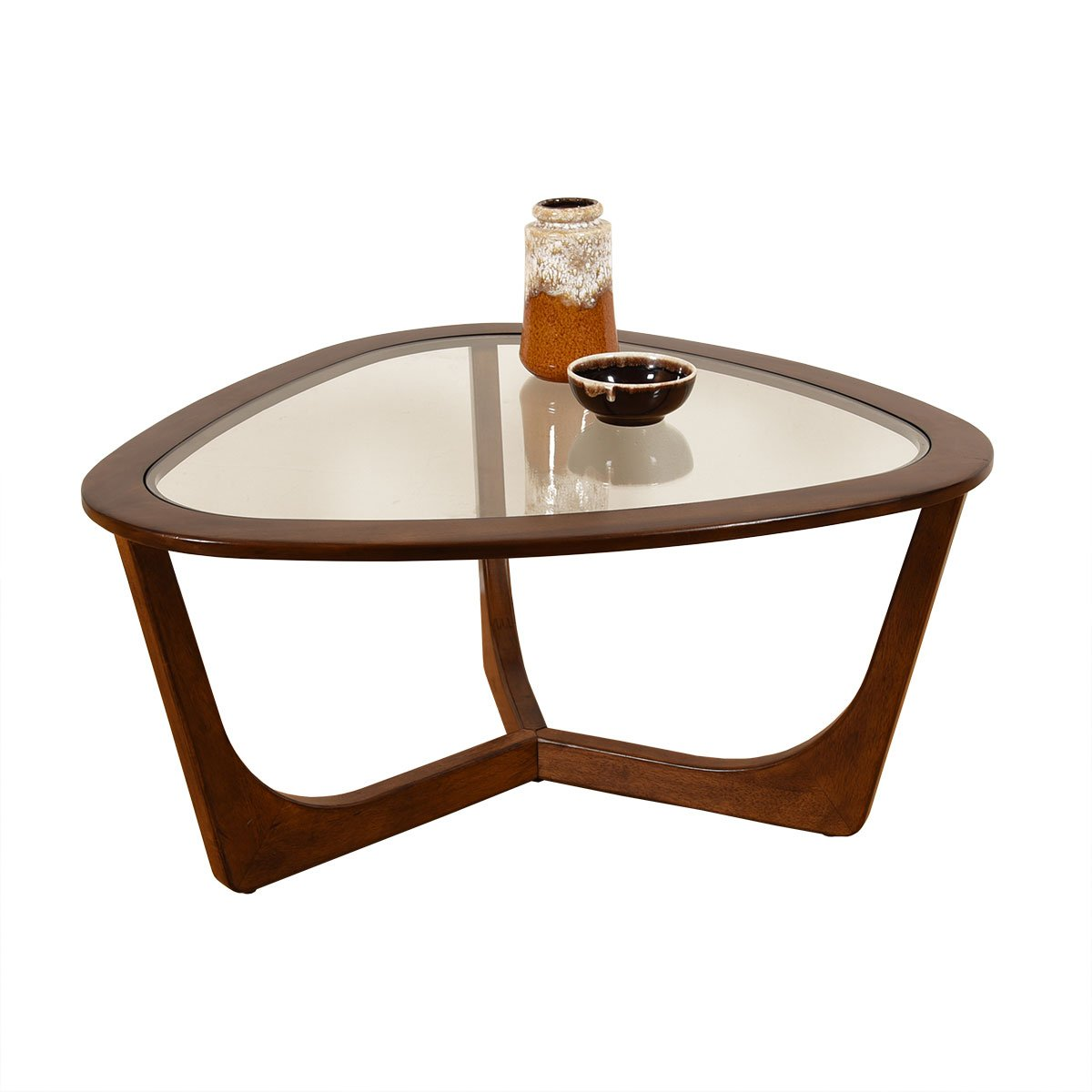 Walnut 3-Sided Glass Top Coffee Table