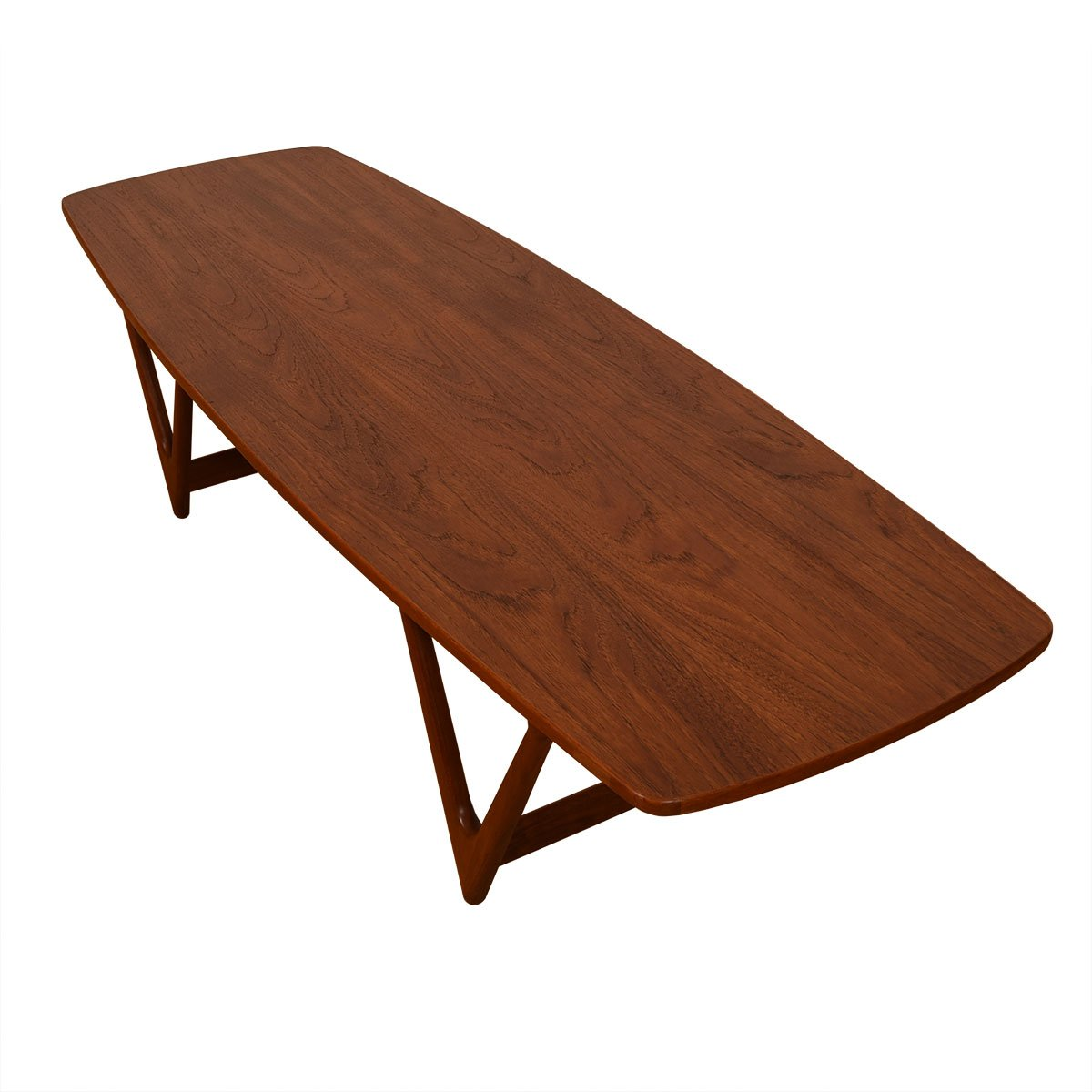 "Danish Teak Bowed Shape ""V-Leg"" Coffee Table"