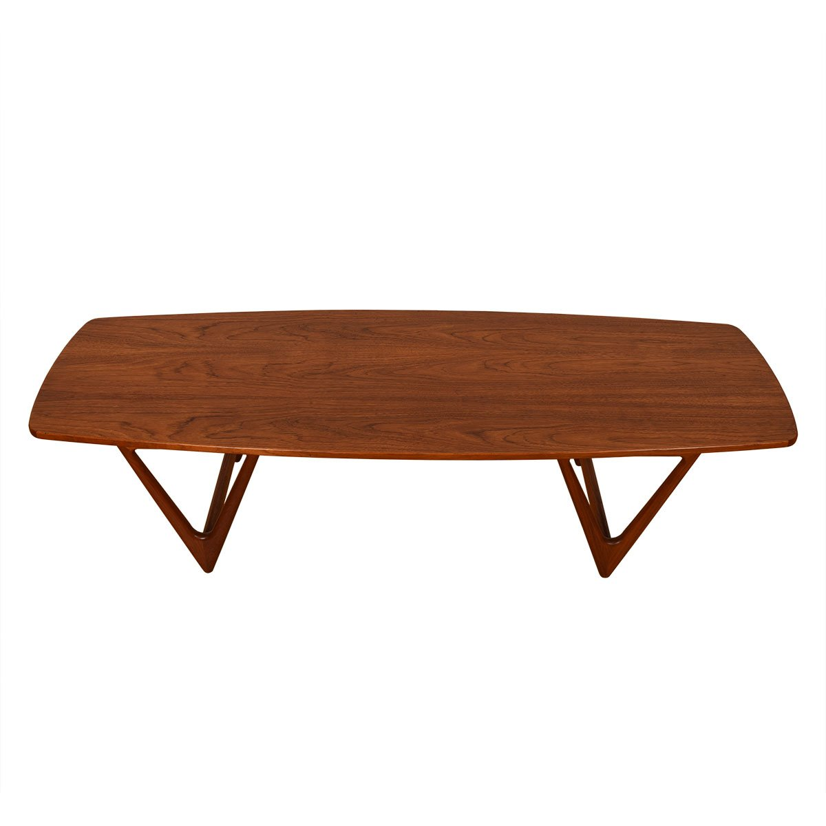 "Danish Teak Bowed Shape ""V-Leg Coffee Table"