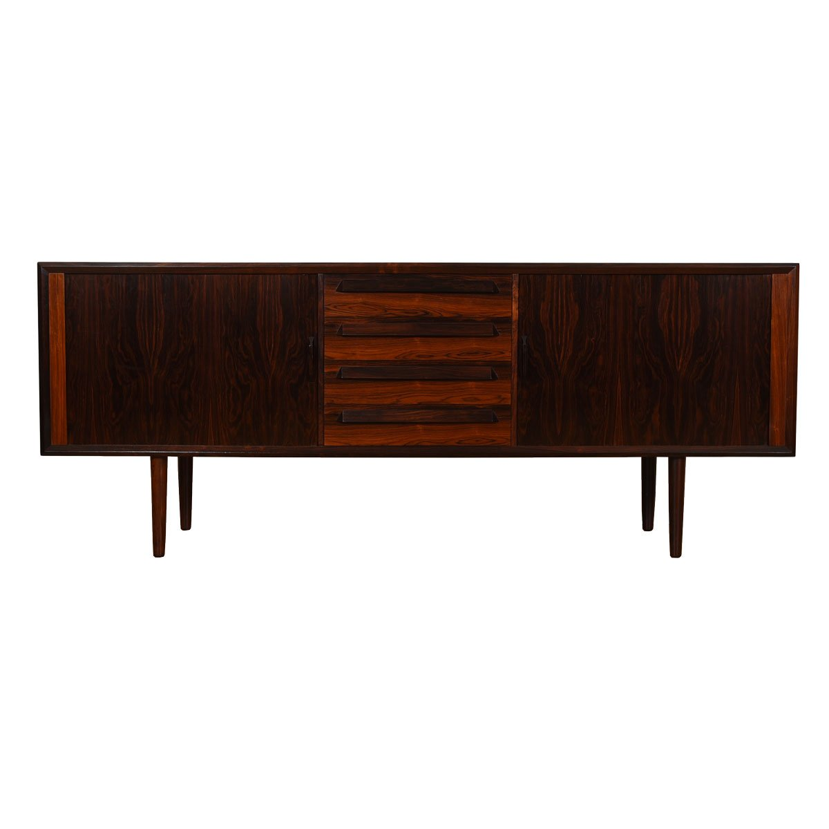 Two-Toned Danish Rosewood Tambour Door Credenza
