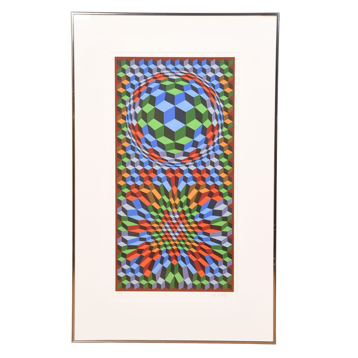 Victor Vasarely Signed Colorful Op Art