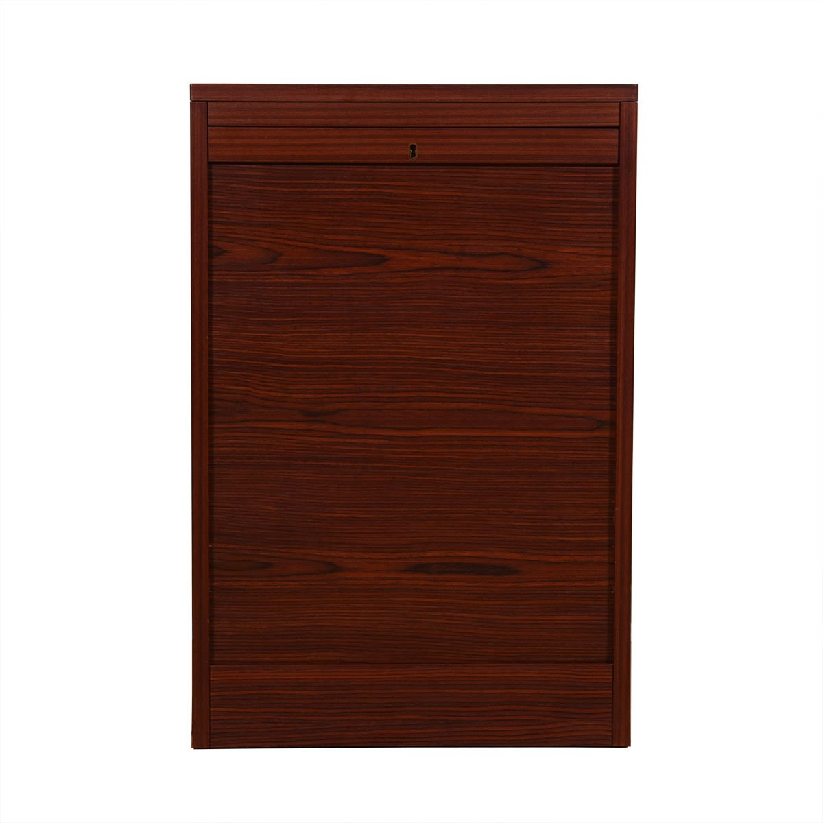 Petite Danish Modern Rosewood Locking Tambour Door Filing Cabinet