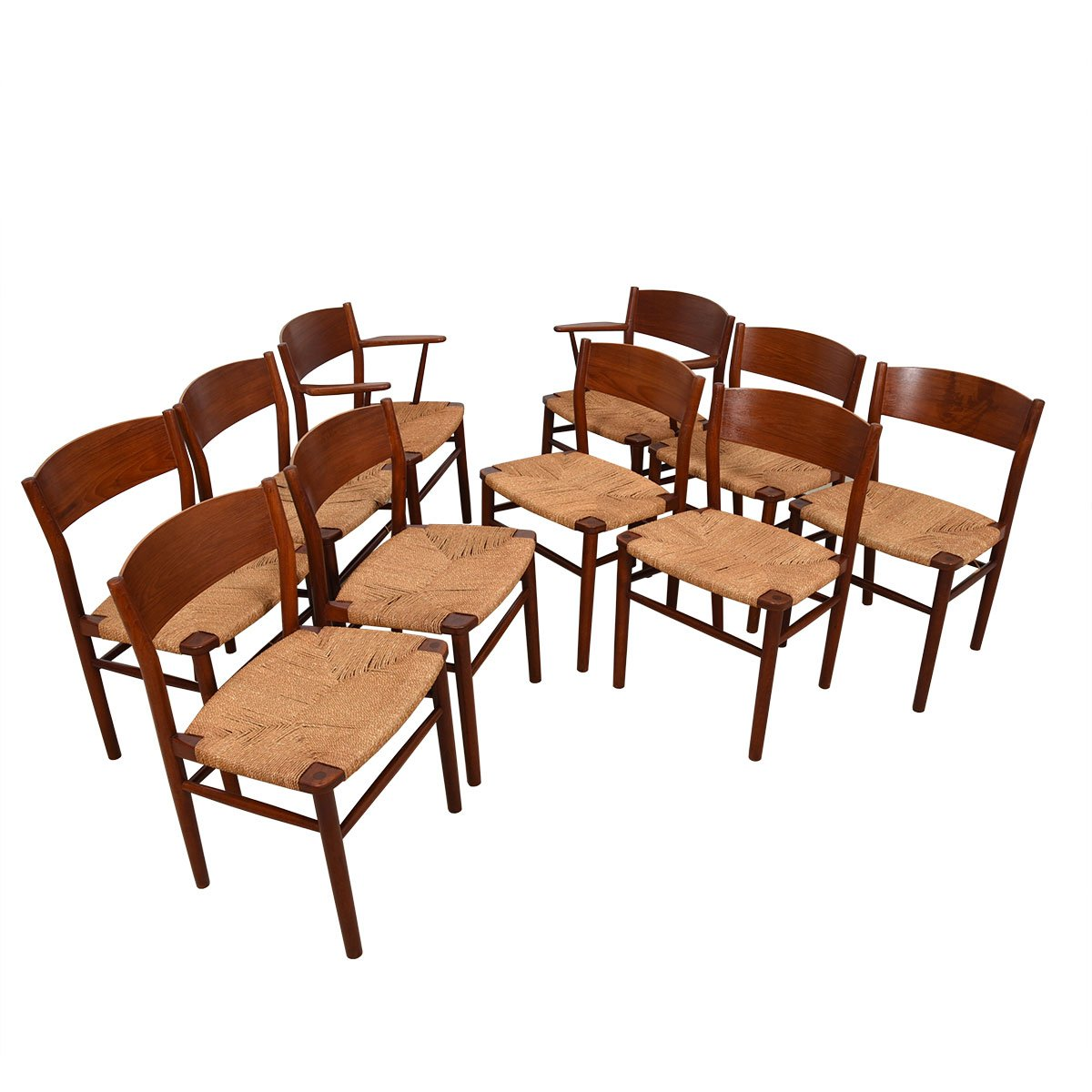 Set of 10 (2 Arm + 8 Side) Peter Hvidt Danish Teak Dining Chairs.