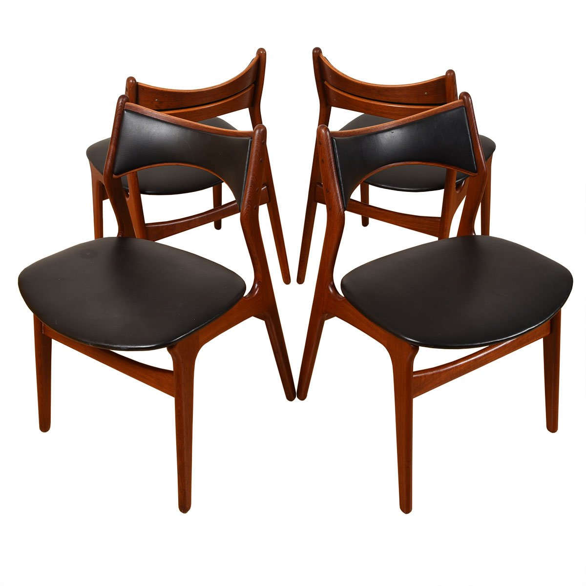 Seldom-Seen Set of 4 Early Danish Teak Erik Buch Dining Chairs