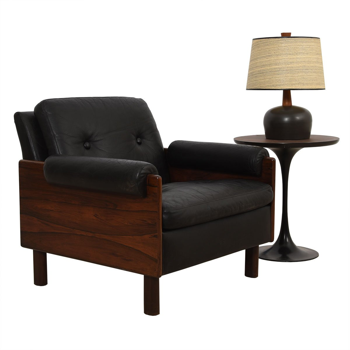 Danish Modern Rosewood & Black Leather Lounge Chair