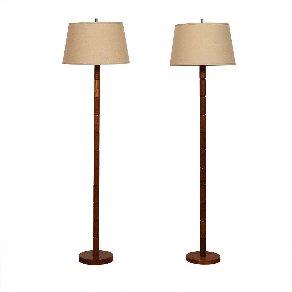 Pair of Teak Floor Lamps with Stacked Nodule Design