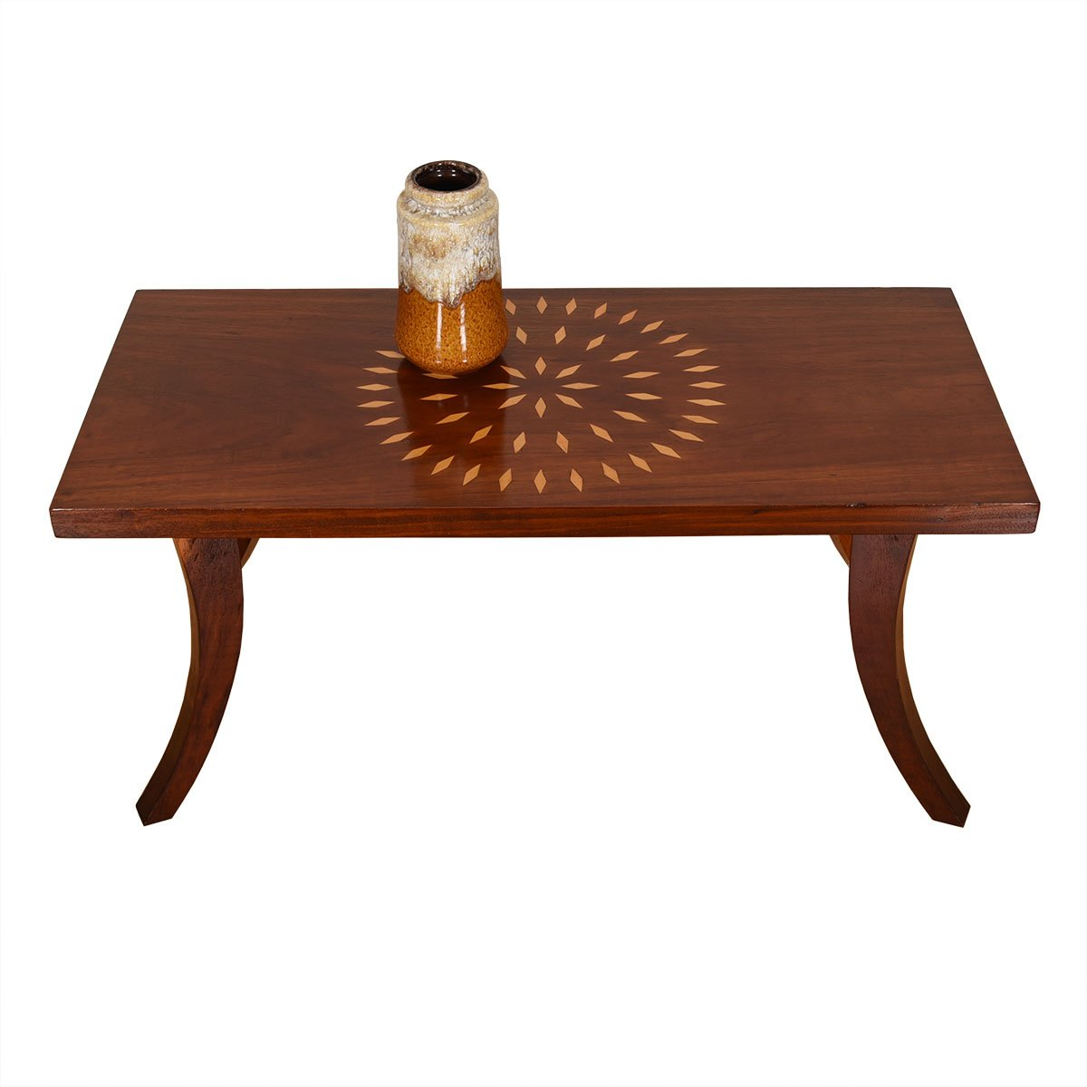 Solid Redwood Accent Table w/ Blonde 'Diamond' Accents
