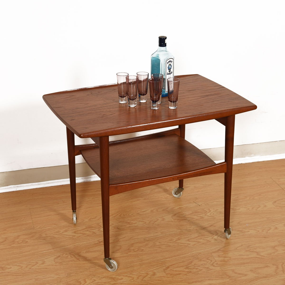 Danish Modern Teak Rolling Serving / Bar Cart