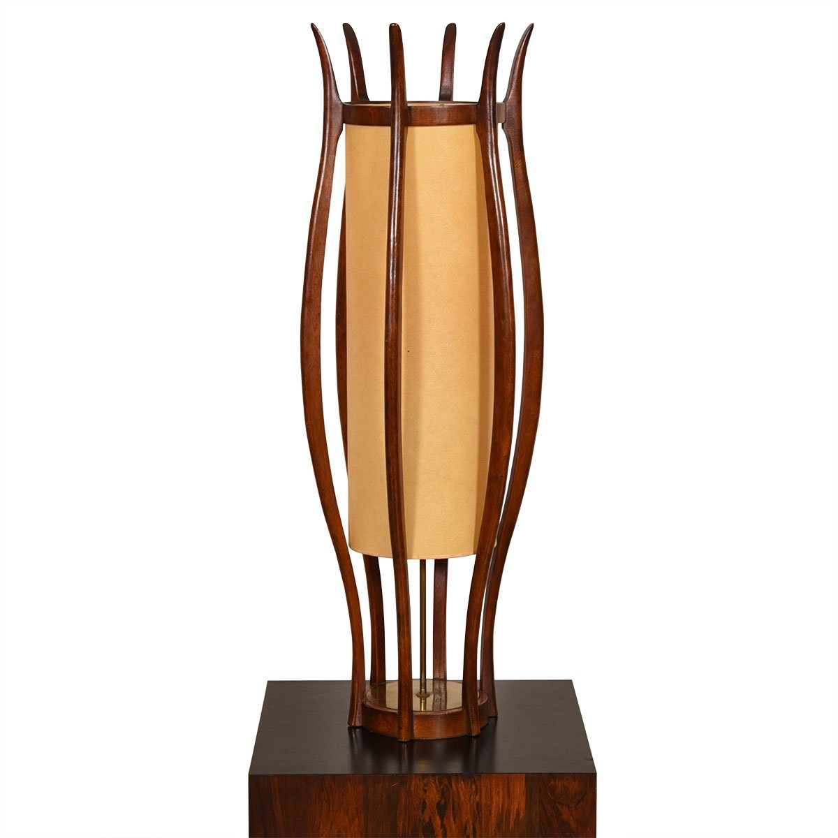 Adrian Pearsall Style Walnut and Brass Curvaceous Sculptural Lamp