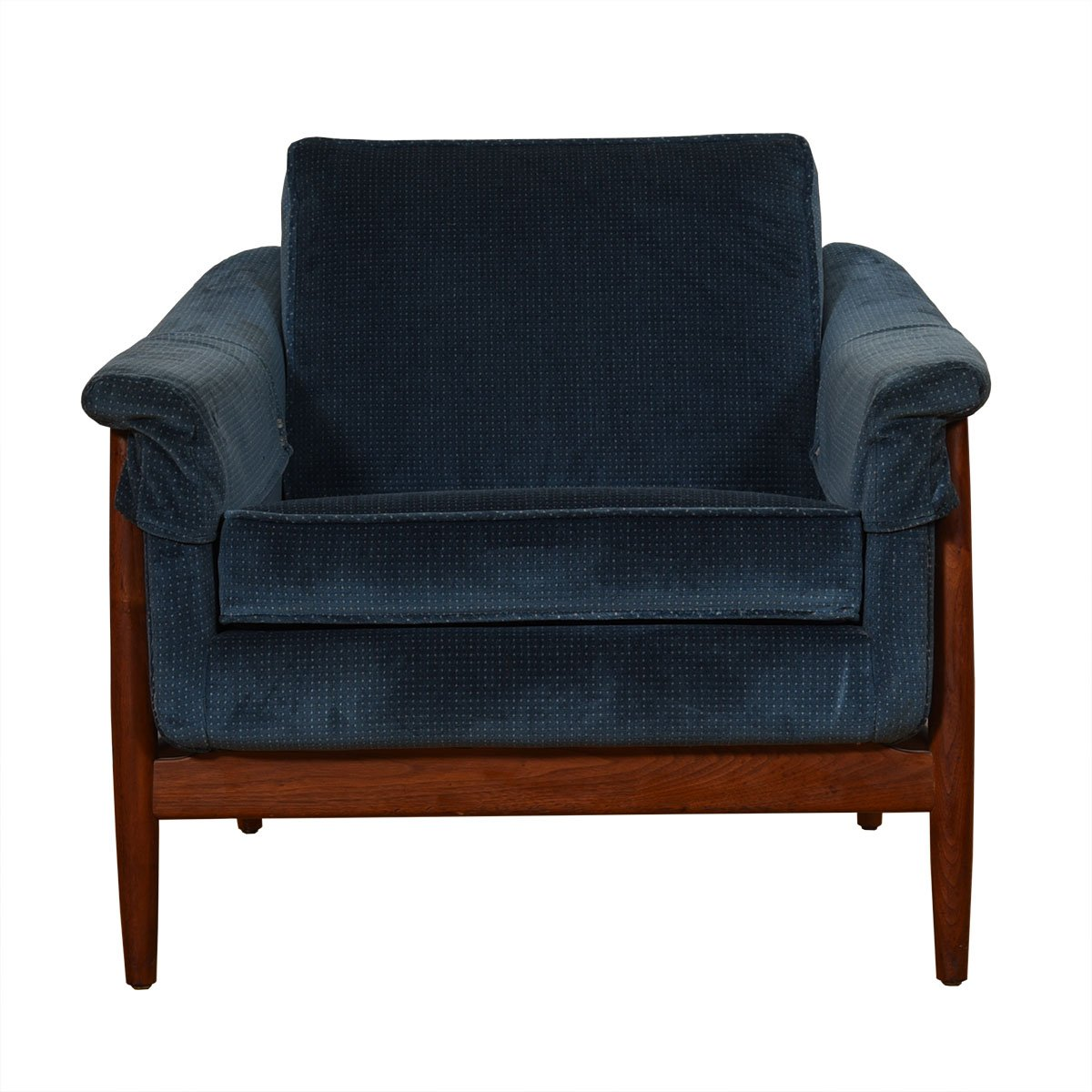 Pair of 1950's Swedish Teak Club Chairs by Dux w/ Blue Patterned Upholstery