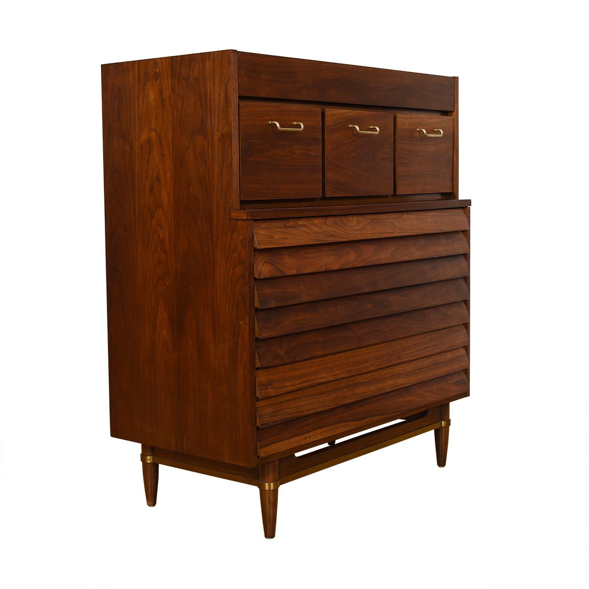Compact Walnut Mid Century Slatted Front Tall Chest of Drawers / Dresser.