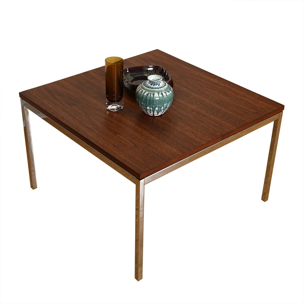 Mid Century Walnut + Chrome Accent Table by Knoll.