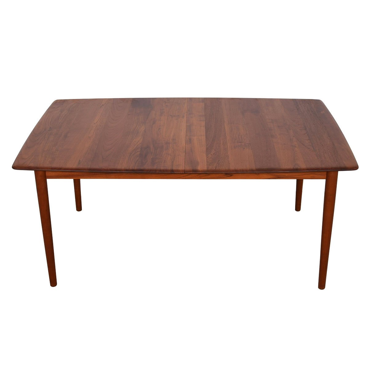 Peter Hvidt Smooth-Edge Solid Teak Expanding Dining Table.