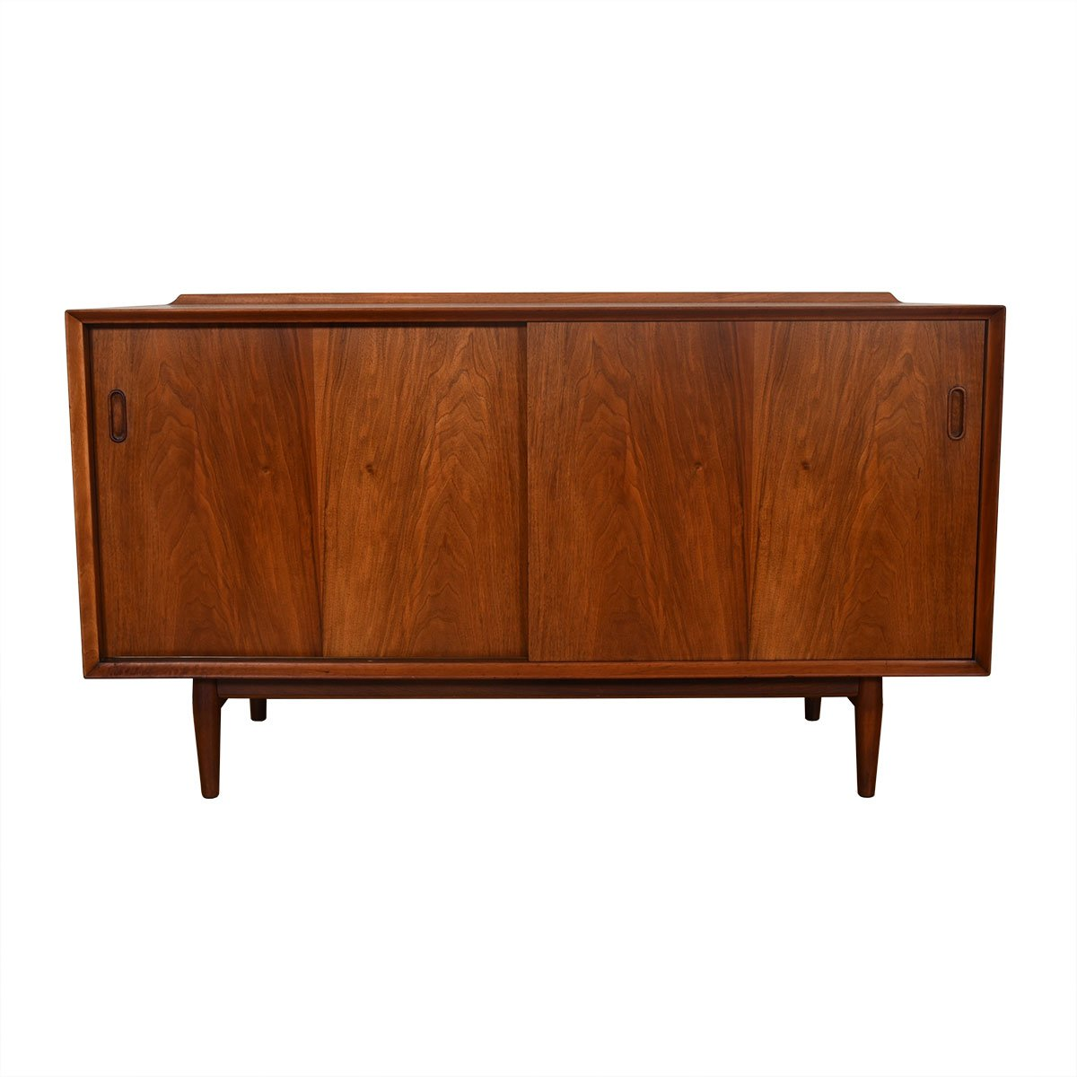 54″ Walnut Danish Modern Sliding Door Sideboard by Arne Vodder.