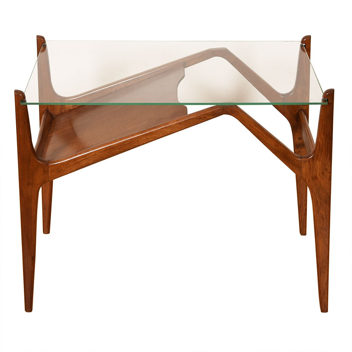 Organic Leg Walnut & Glass Top Accent Table