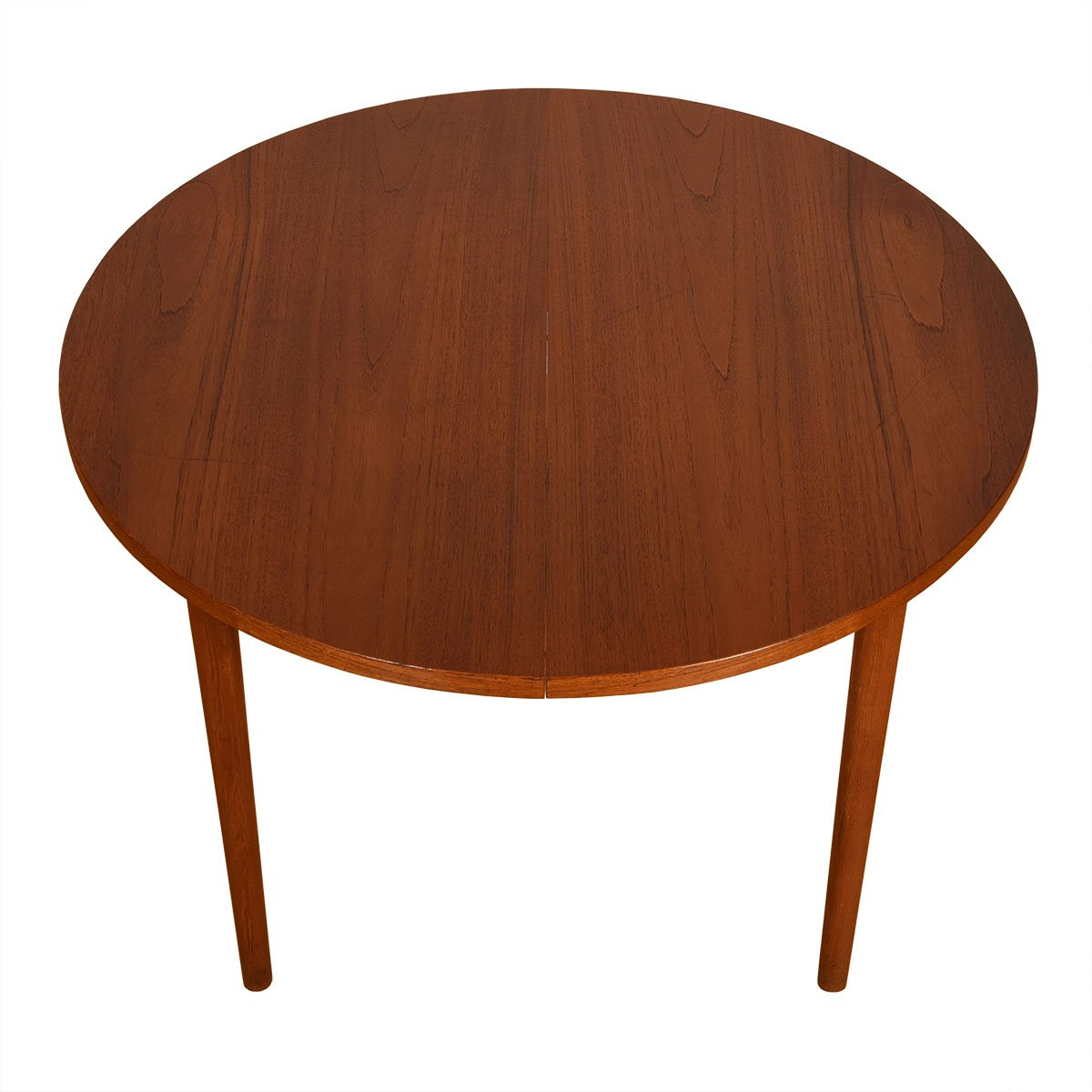 43.5″ Danish Teak Compact Round Dining Table w/ Leaf