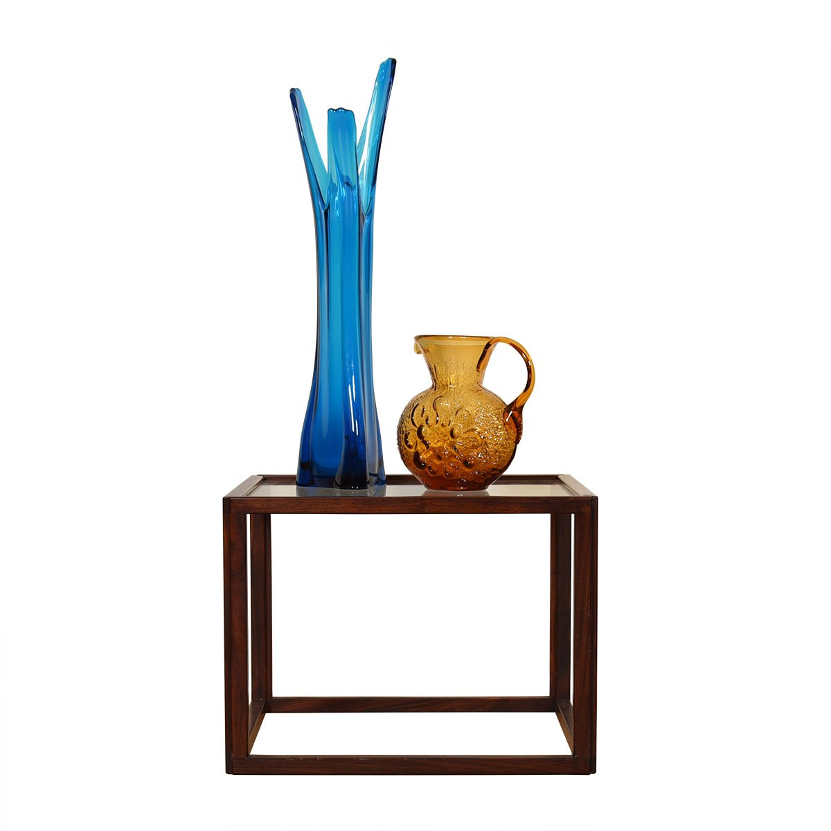Rosewood Danish Square Glass Top Accent Table.