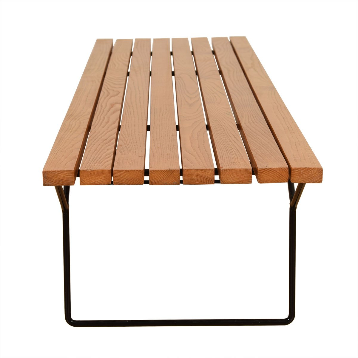 Very Early Knoll Bertoia Slat Bench with Black Iron Legs