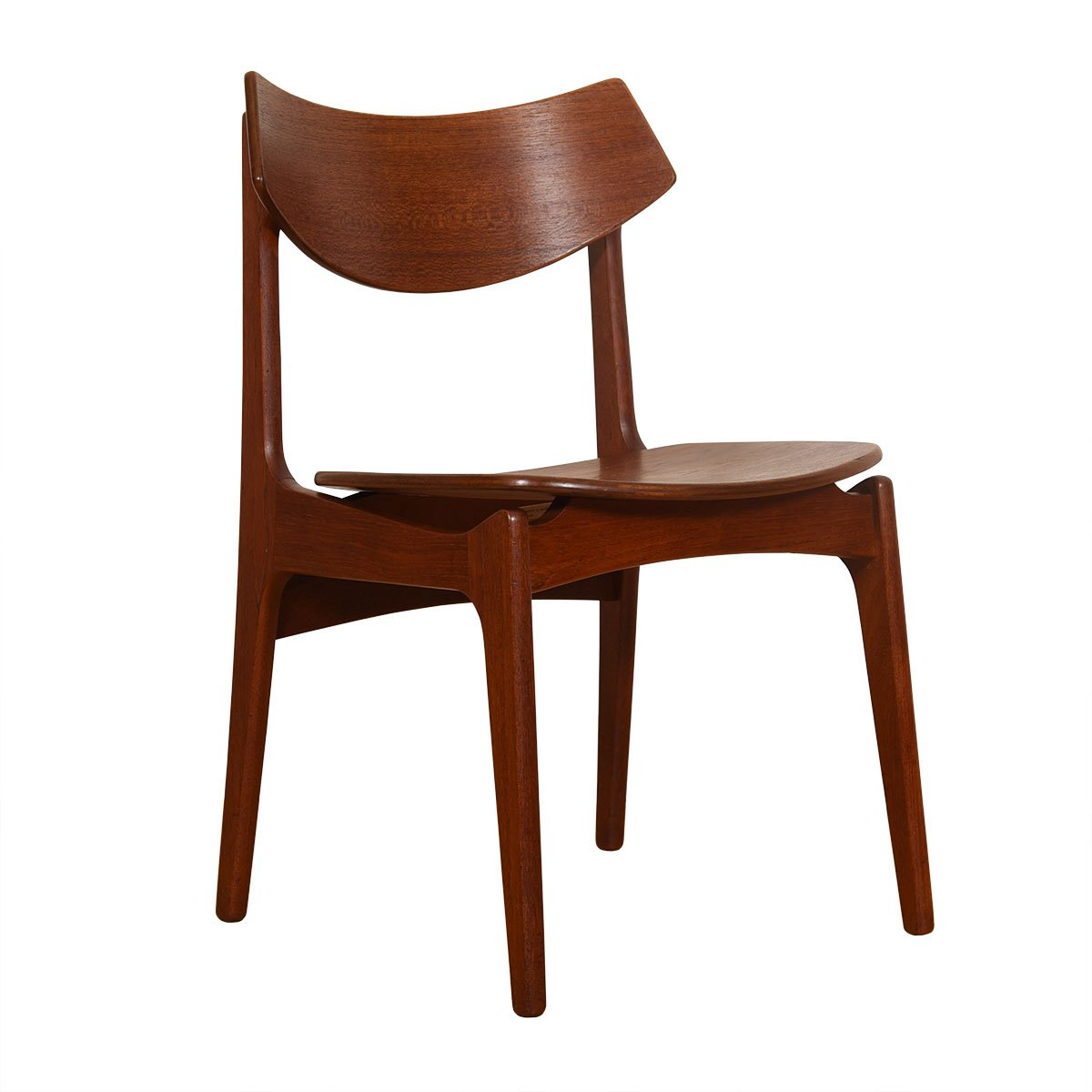 Set of 4 Danish Teak Curved Back Dining Chairs.