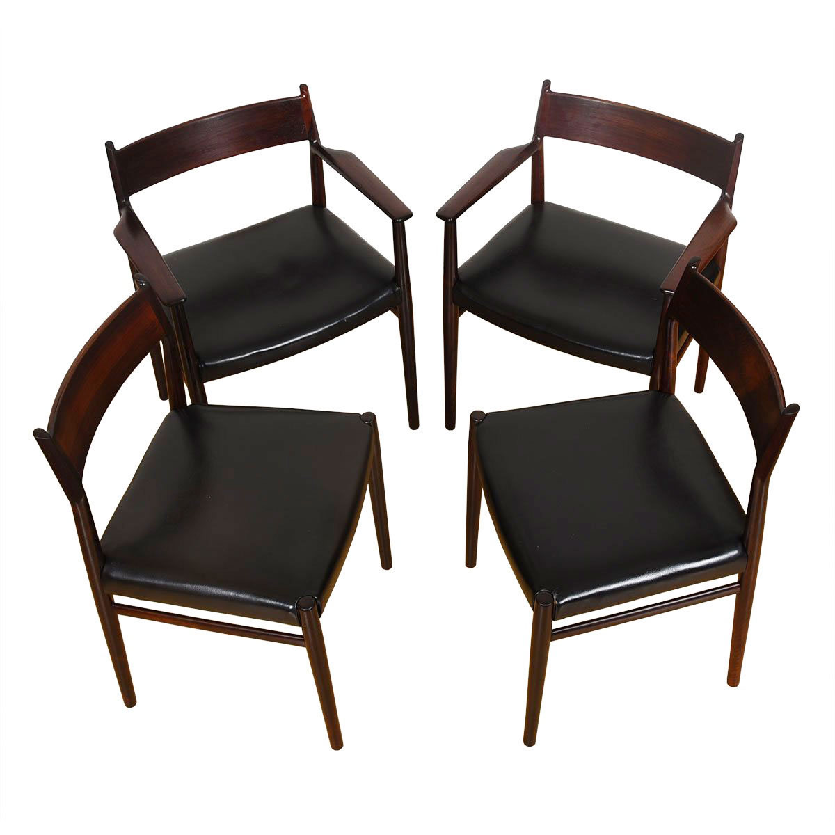 Set of 4 Danish Rosewood Dining Chairs (2 Arm + 2 Side)