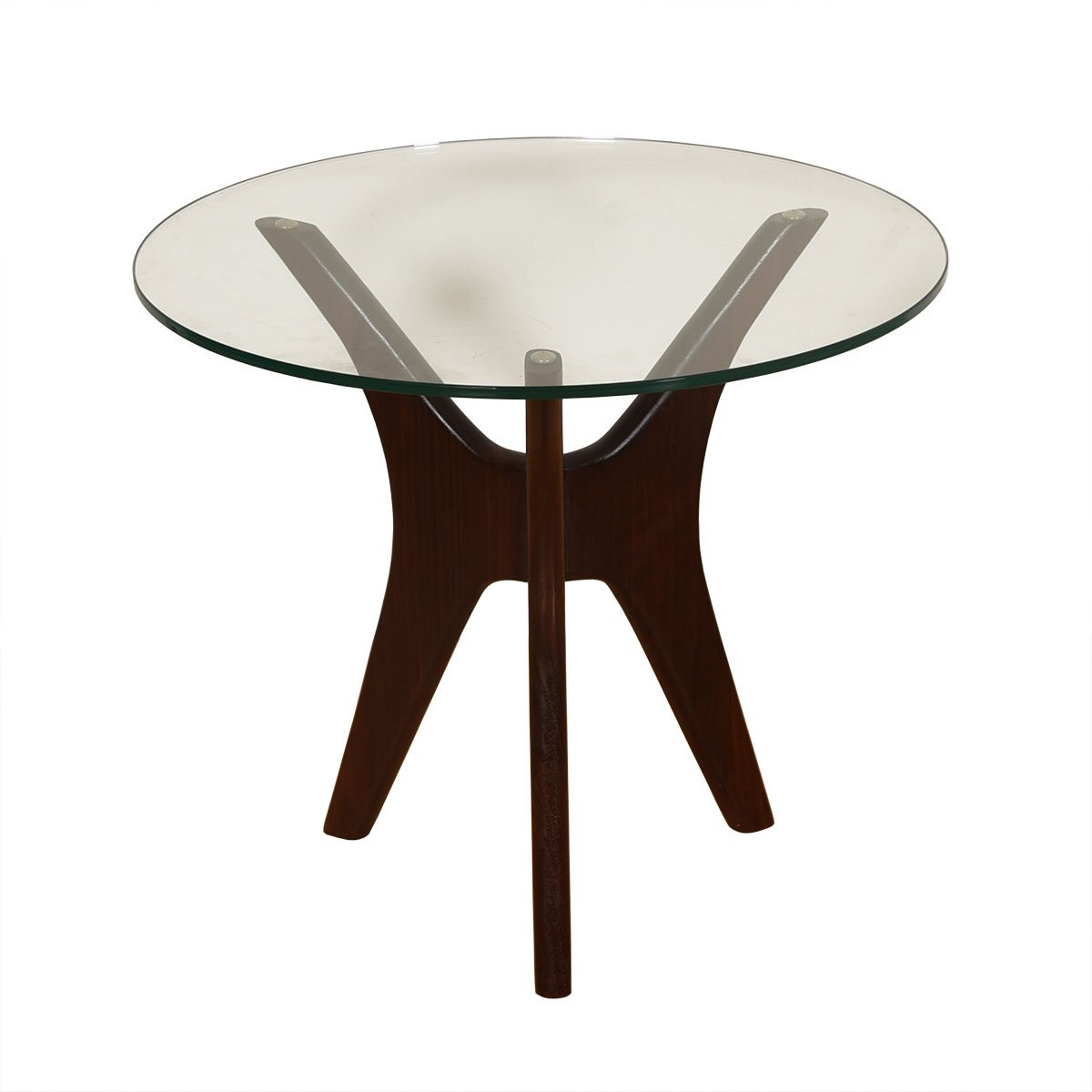 Mid Century Pearsall Round Glass Top Accent – Coffee Table w/ Walnut Base
