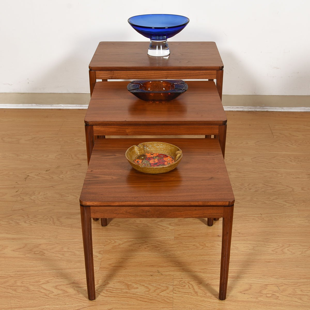 Set of 3 Drexel Mid Century Walnut Nesting Tables