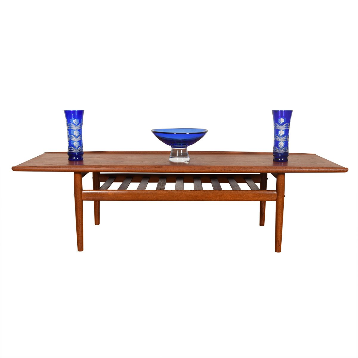 Grete Jalk Danish Teak Surfboard Coffee Table w/ Shelf