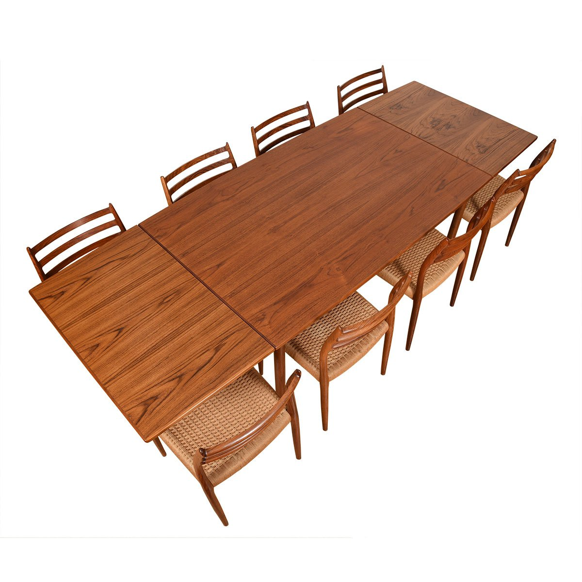 Danish Modern Tapered Teak Expanding Dining Table