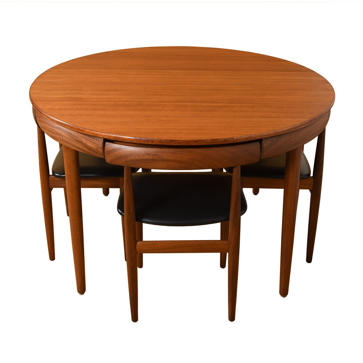Mid Century Walnut Butterfly Leaf Expanding Round Dining Table + Chair Set.