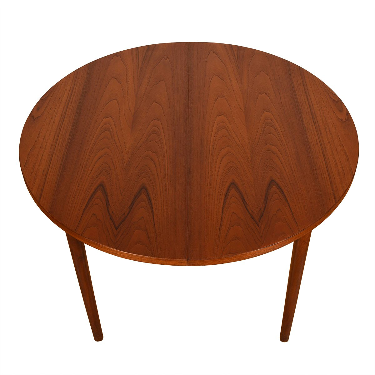 Small Danish Teak Expanding Dining Table w/ Gorgeous Grain