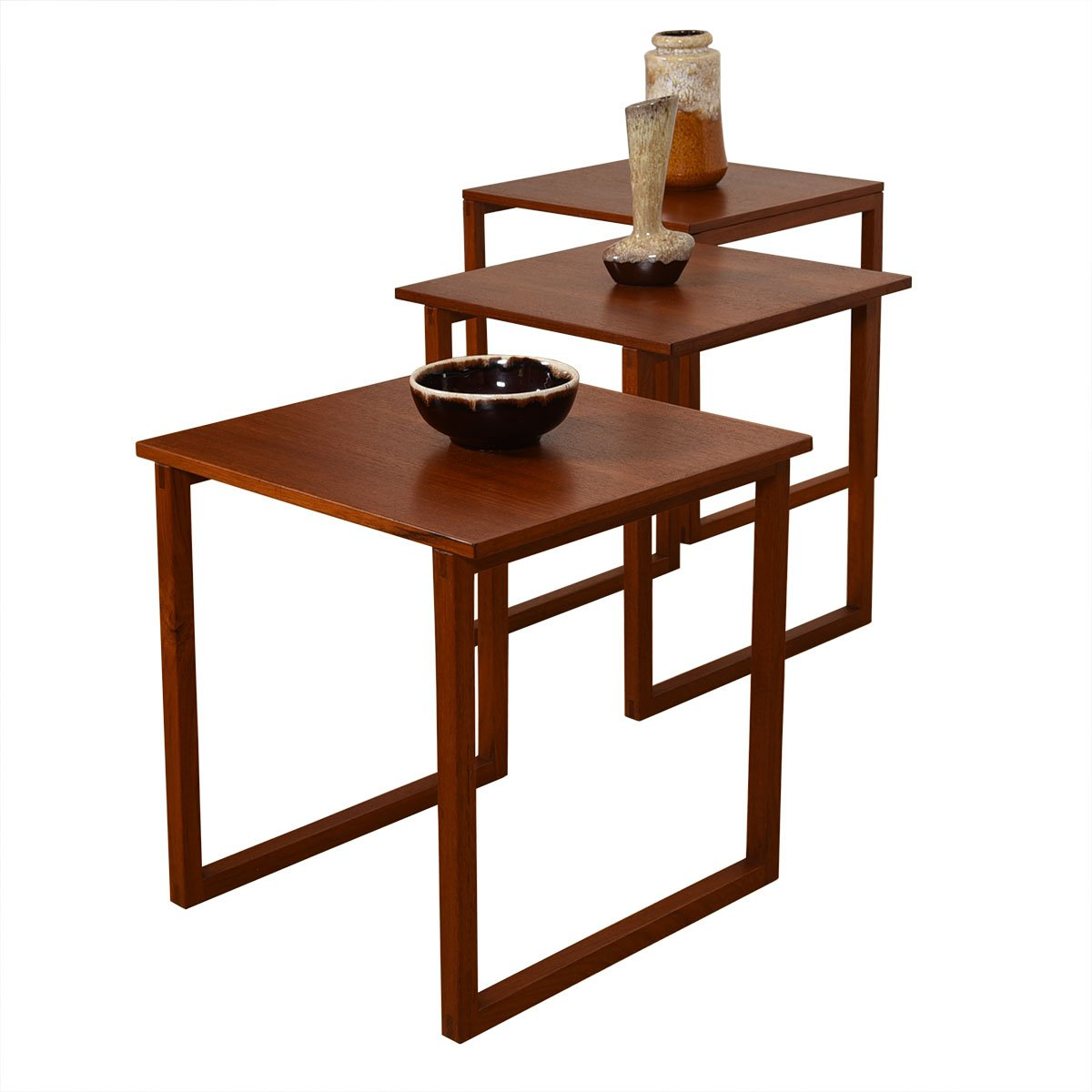 Kai Kristiansen Set of 3 Teak Cube Nesting Tables
