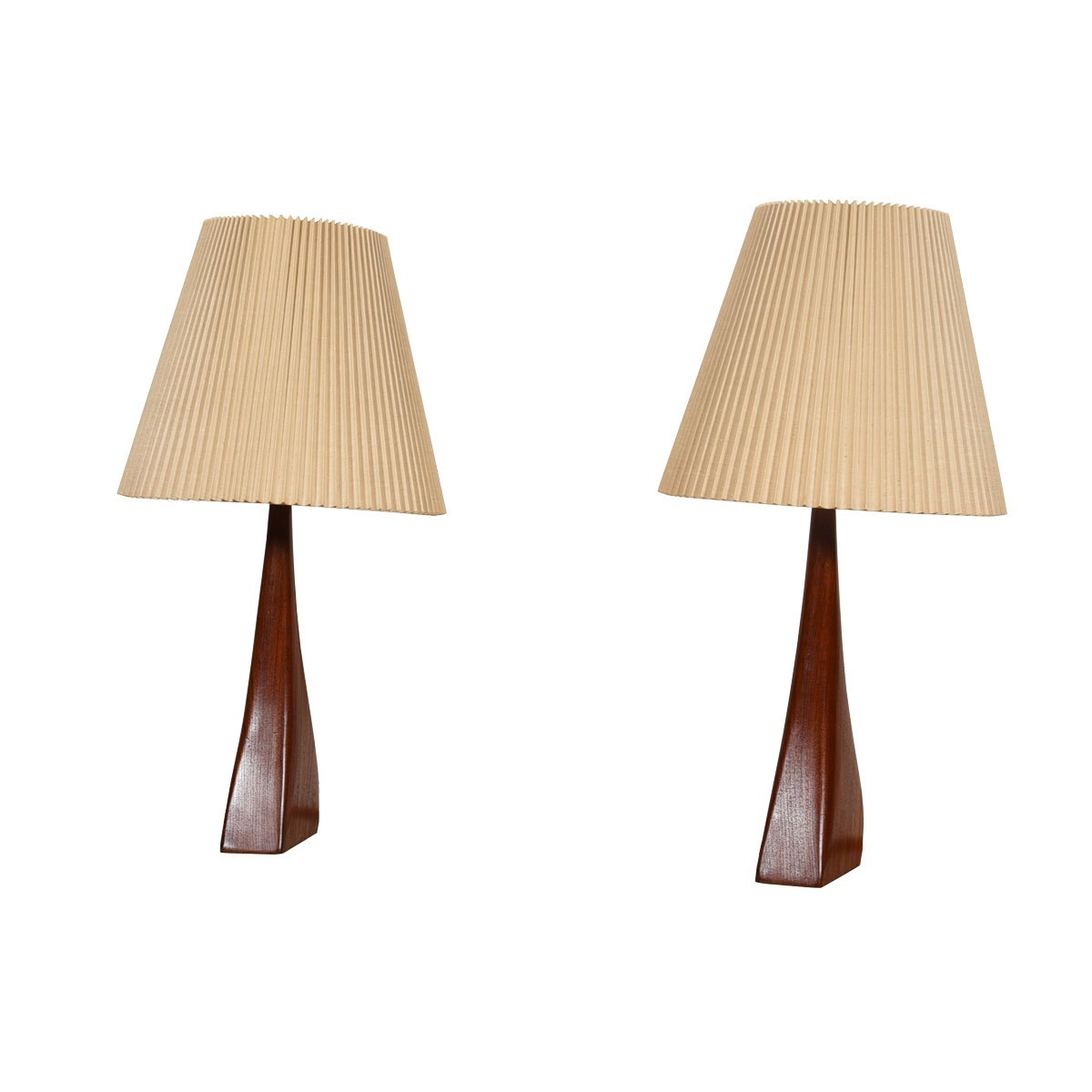Rare Pair of Teak Lamps by Johannes Aasbjerg, Denmark