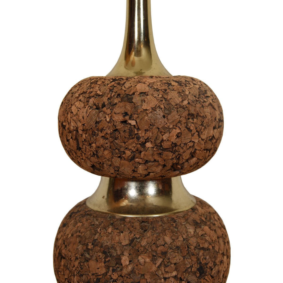 Pair of Cork and Brass Lamps with Graduated Design.