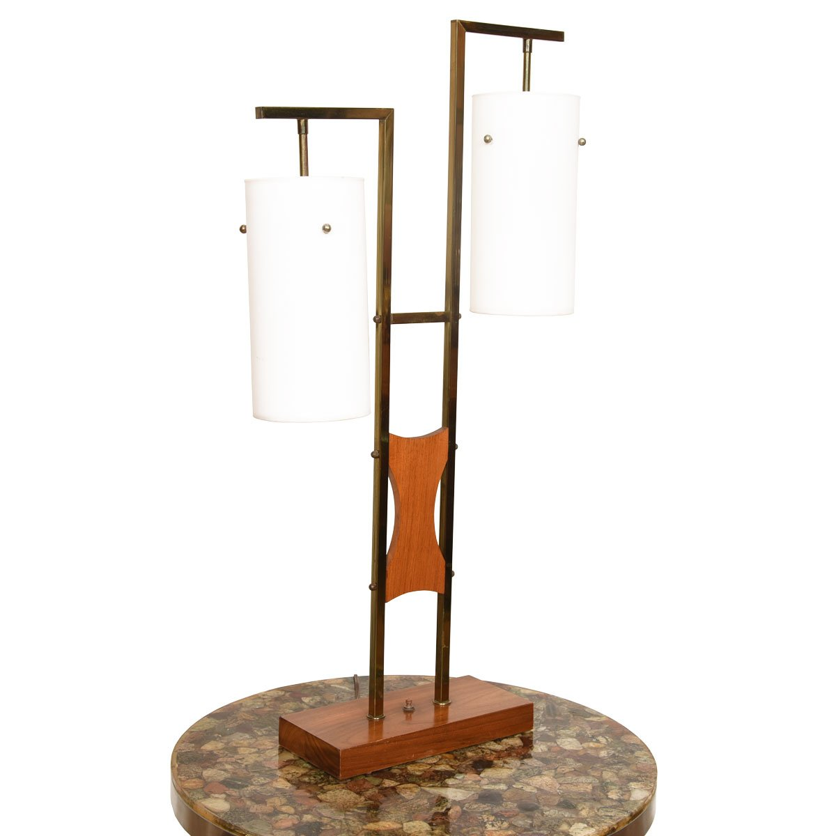 Pair of MCM Designer Two-Light Walnut, Brass & Frosted Glass Lamps