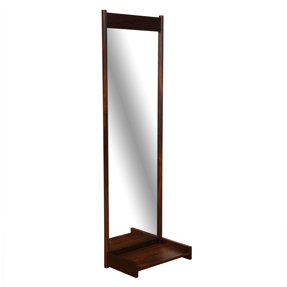 Slim & Long Danish Modern Mirror in Rosewood with Shelf