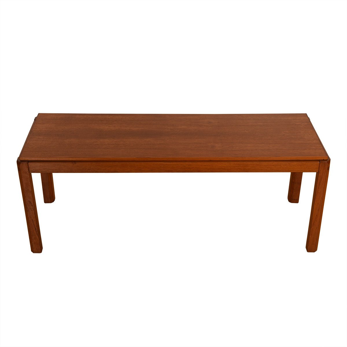 Apartment Sized Danish Teak Coffee Table w/ Beveled Legs.