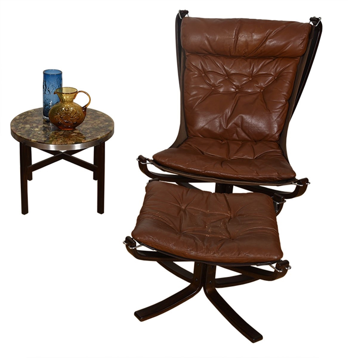Rosewood + Leather Norwegian Falcon Lounge Chair + Ottoman