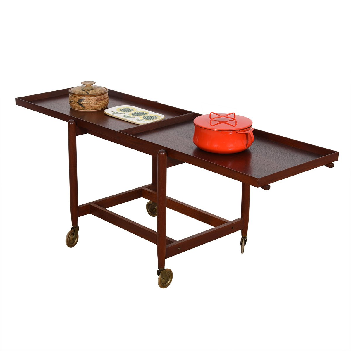 Early Danish Teak Expanding Bar Cart w/ Removable Tray