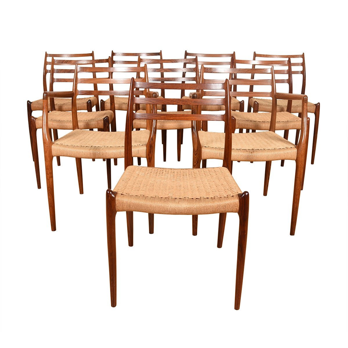 Niels Møller Set of 10 Danish Rosewood Dining Chairs