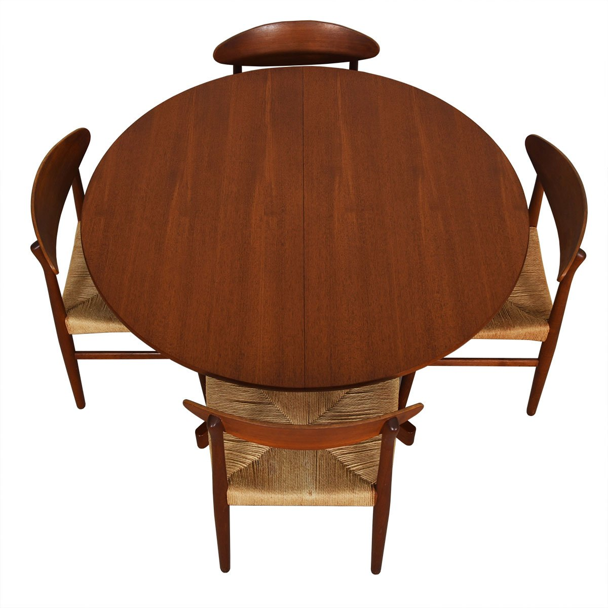 45″ Danish Teak Round Expanding Pedestal Dining Table
