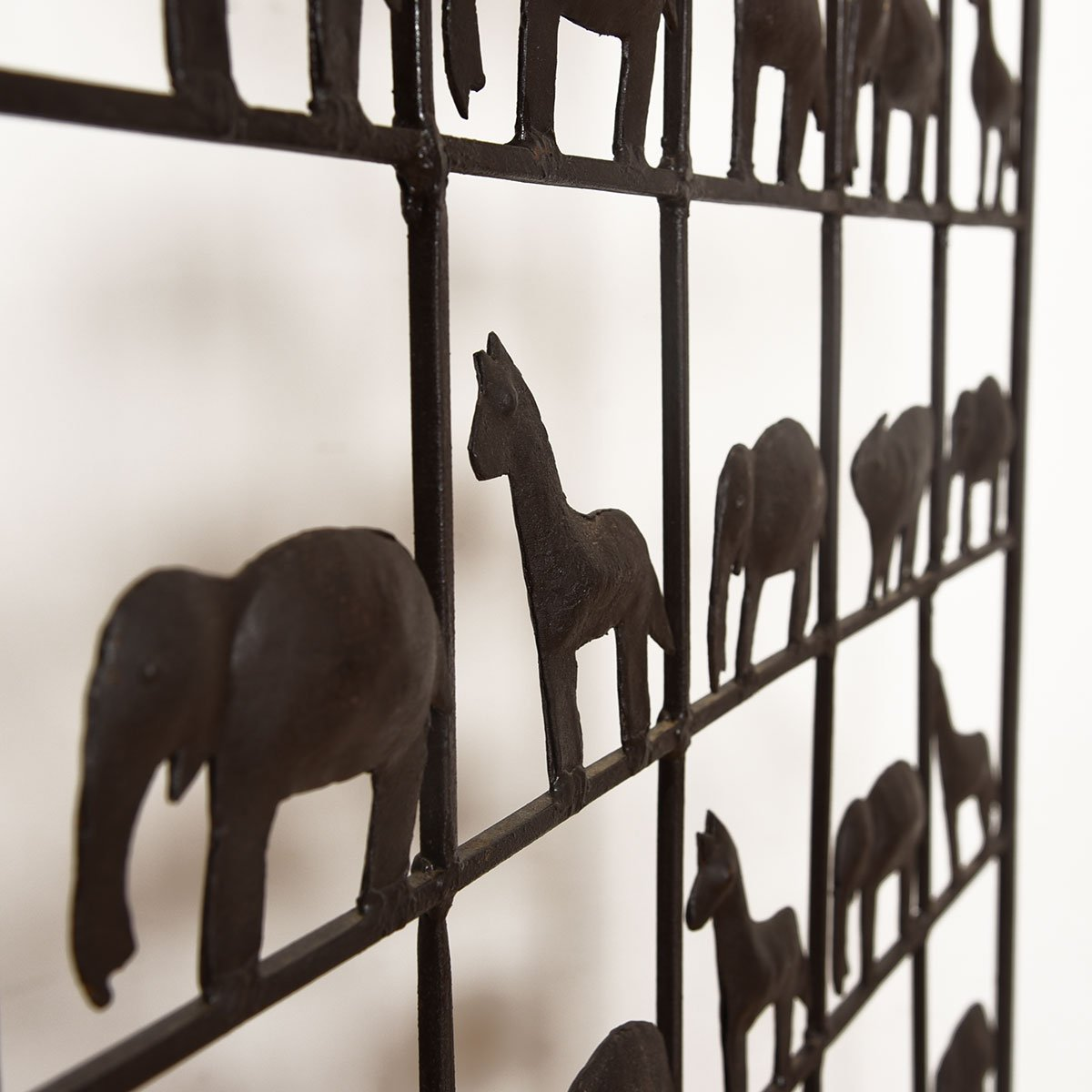 Frederick Weinberg Style Wrought Iron Animal Silhouette Screen / Room Divider