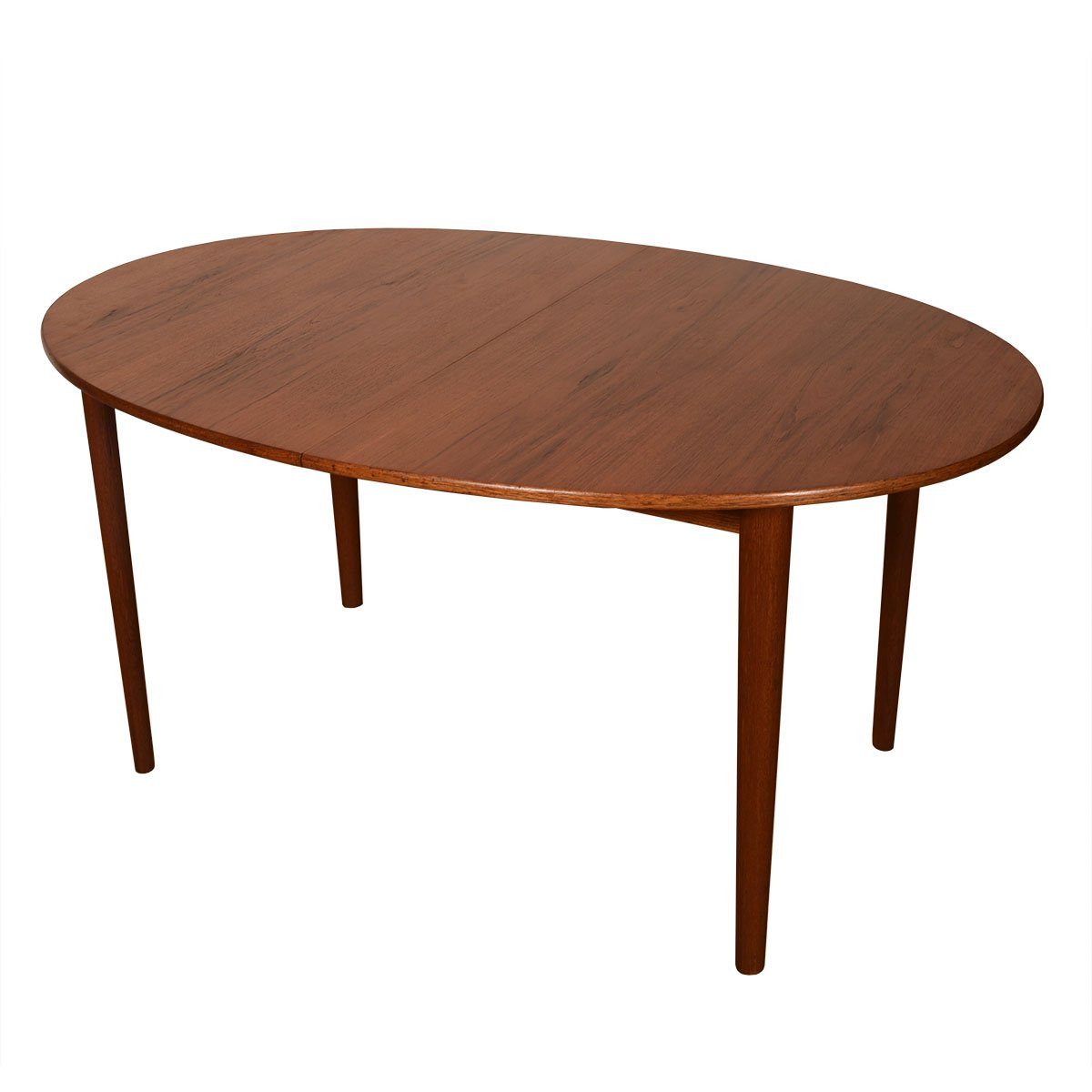 John Stuart Danish Modern Teak Expanding Oval Dining Table.
