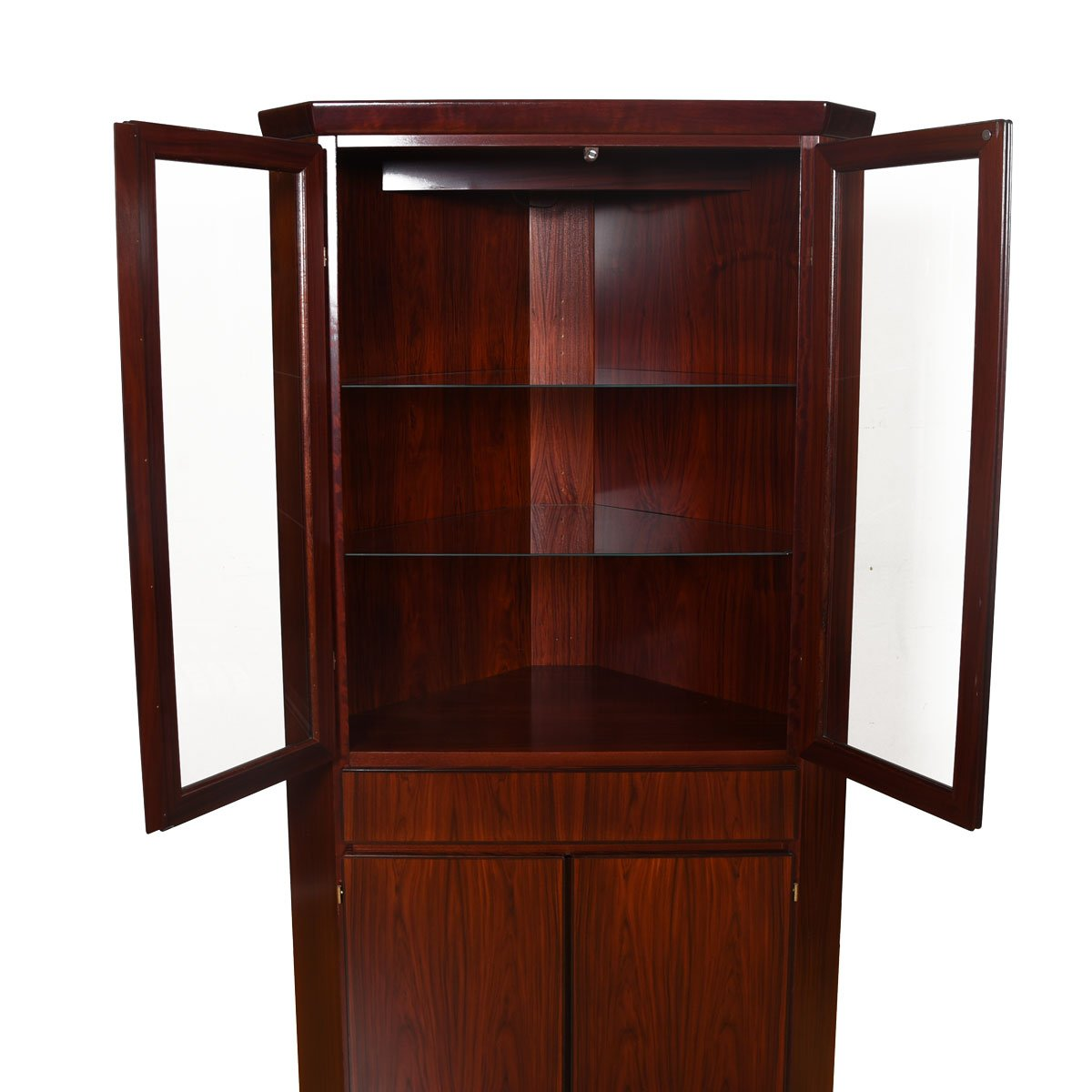 Danish Modern Rosewood Corner Display Cabinet w/ Light.