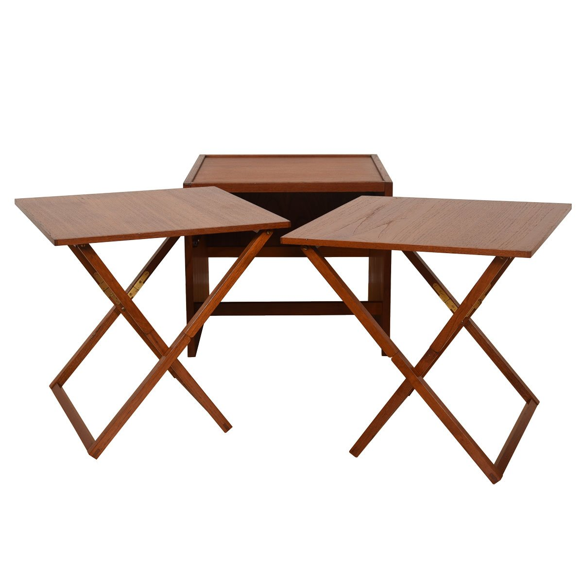Danish Teak Accent Table w/ 2 Folding Tray Tables.
