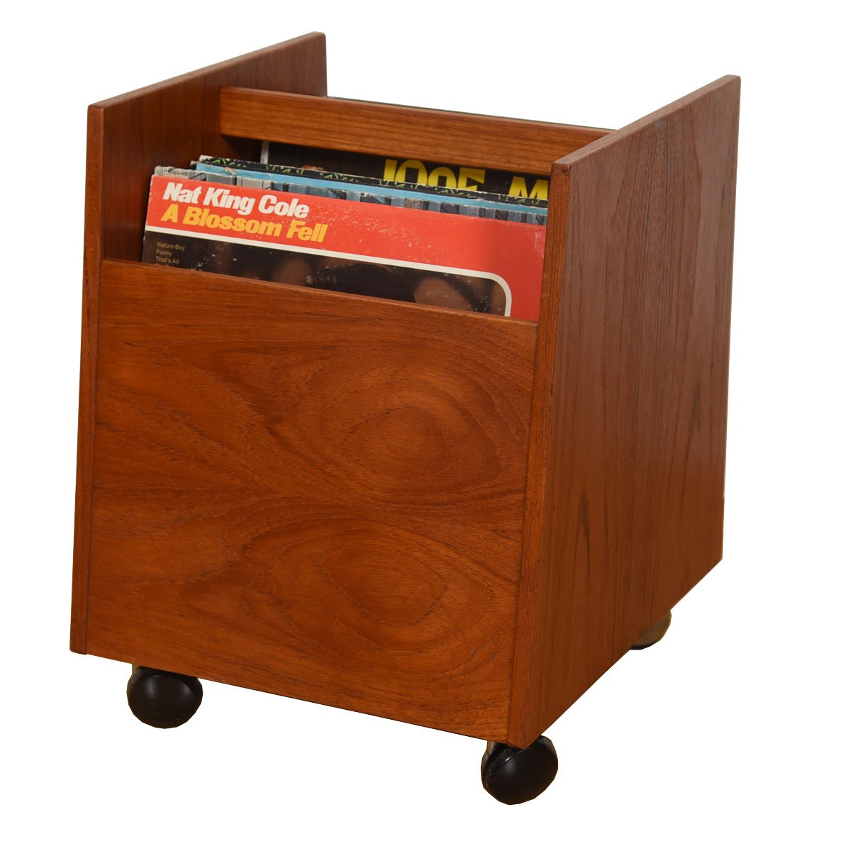 Norwegian Teak Rolling Storage Cart for Vinyl or Magazines