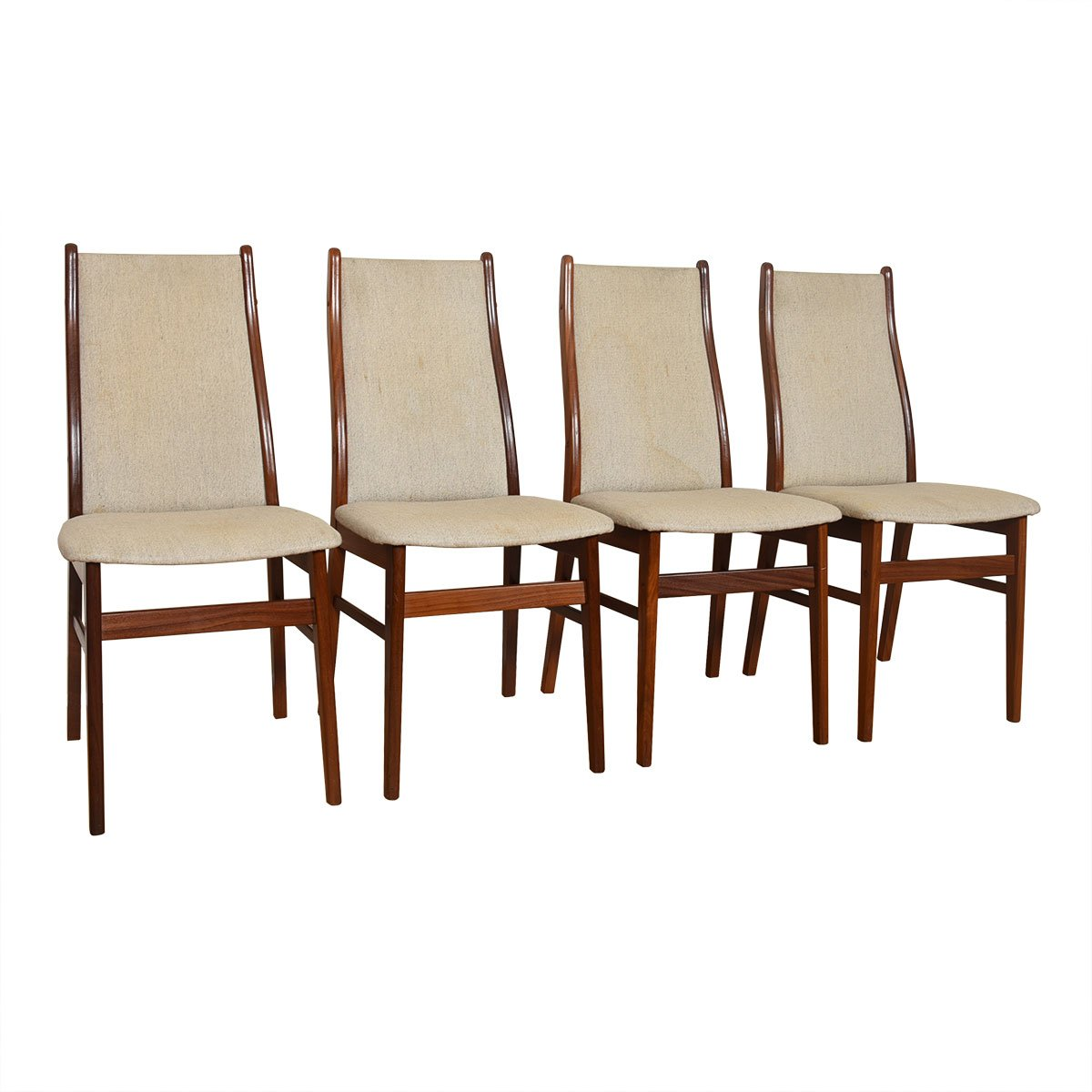Set of 4 Danish Modern Teak Upholstered Dining Chairs